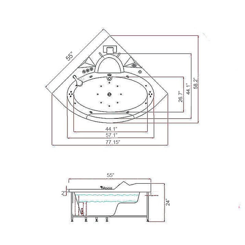 whirlpool bathtub 20 jets hydrotherapy hot tub double pump angelic 2 two persons 762179102496