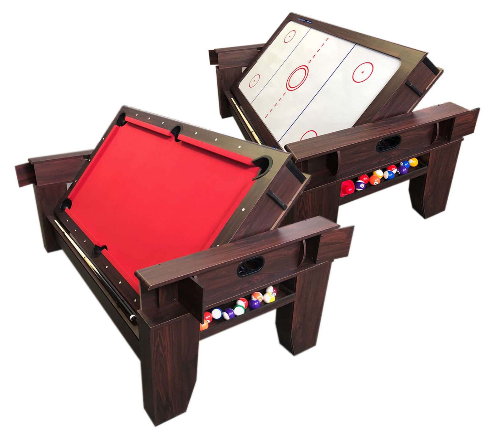 Details About 2 In 1   7Ft Red Pool Table Billiard Become An Air Hockey  Table With Accessories