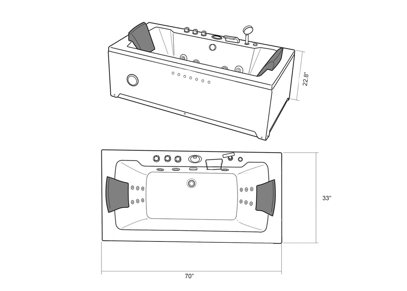 whirlpool bathtub black hot tub double pump hydrotherapy 2 two persons marilyn 762179102571