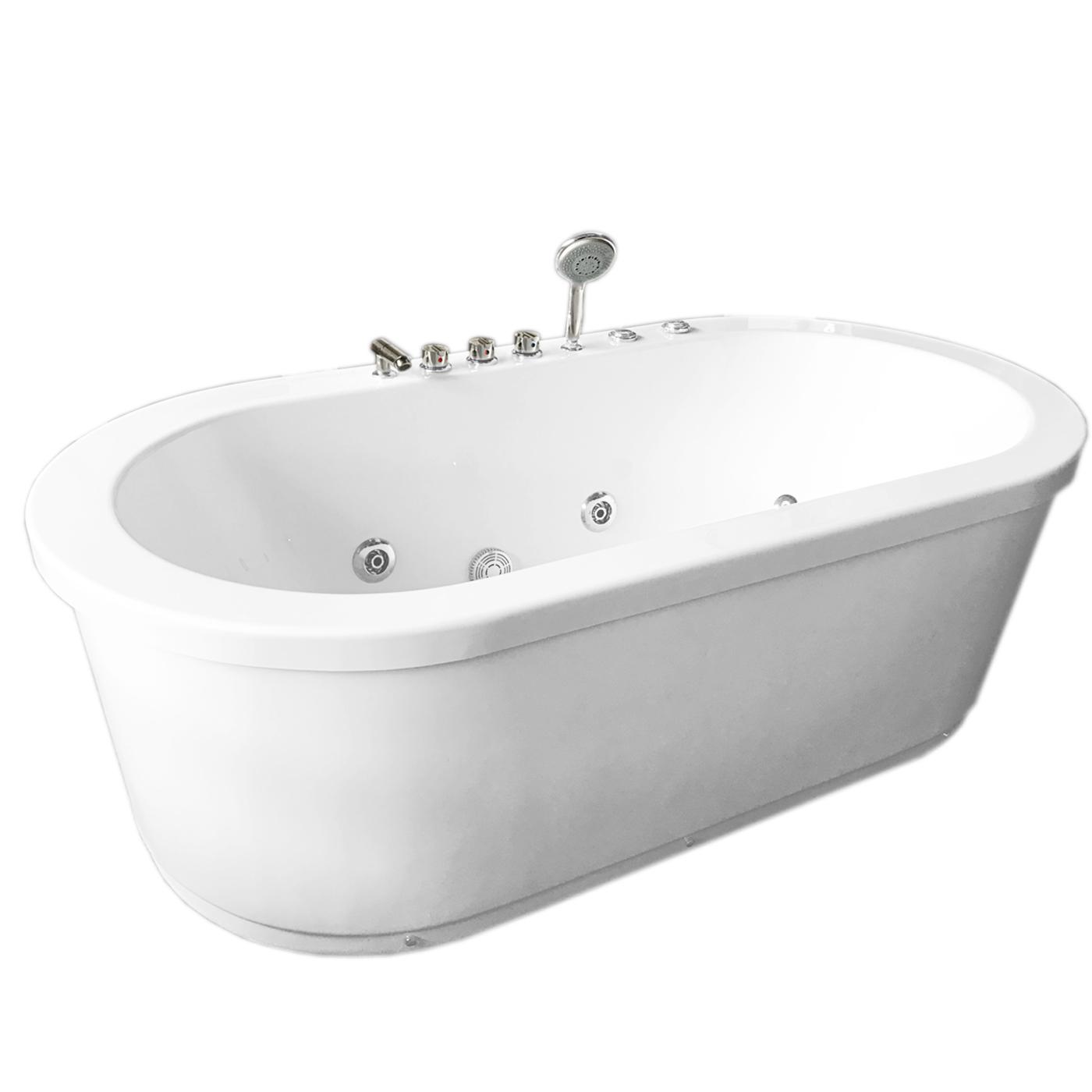 Whirlpool Freestanding Modern Bathtub Double Pump 16 Nozzle Hot Tub ...